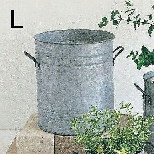 ノルマンディ ラウンドポット Lサイズ 鉢カバー ブリキポット 鉢 ブリキ鉢 植木鉢 ブリキポット プランター ガーデニング雑貨 アンティーク 鉢カバー おしゃれ かわいい HUY811L