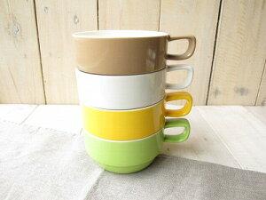 スタジオエム(スタジオM) デリカテッセ スープカップ4色 スタッキング スープカップ スープマグ マグカップ おしゃれ かわいい 日本製 白 ホワイト ブラウン イエロー グリーン
