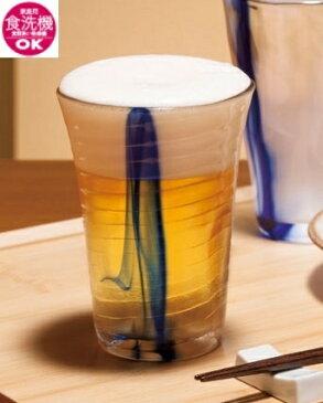 泡立ちぐらす 山 ビヤーグラス 藍流し 350ml 日本製 ガラス ビアグラス グラス ビール ビールグラス 贈り物 プレゼント ブライダルギフト