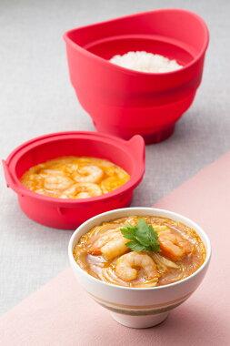 シリコンスチーマー丼がつくれるドン!ジャポネ(DON!Japonais)2段調理でどんぶり料理が簡単にできるメトレフランセライススチーマーシリコンスチーマー炊飯器御飯炊けるごはん&おかず調理レシピブック付き一人暮らしあす楽