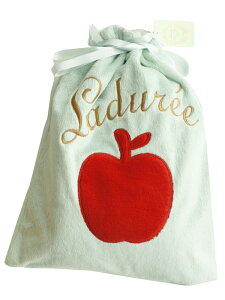 ラデュレ(Laduree)ひざ掛け ブランケット 巾着袋入 りんご グリーン