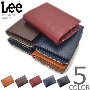 【全5色】 LEE リー イタリアンレザー ラウンドジップ 二つ折り財布 ウォレット メンズ レディース