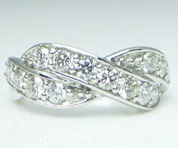0.20ct天然ライトブラウンダイヤモンド20石&K18ホワイトゴールドハーフエタニティーリング