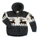 人気[送料無料]フード付きメンズ&レディースカウチンセーター/ダークグレーKANATAが紡ぐ伝統の一着。手編みでしっかり編み込んだカナダ製オリジナルカウチンセーター。世界有数カウチンメーカー/カナタ鹿柄(ディアー)10P03Dec16