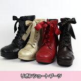 ★リボンショートブーツ(17073001)★メタモルフォーゼロリータロリィタmetamorphose靴ブーツショートブーツ太ヒール