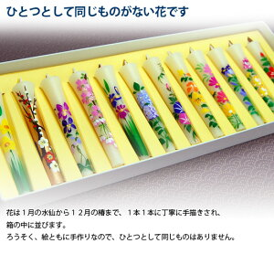 【楽ギフ_のし】絵ローソク(手描き)四季の花12本入り