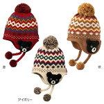編みぐるみ付きノルディック柄フード(帽子)〈S-M(46cm-56cm)〉