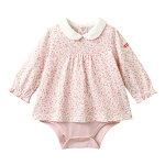 白襟付き♪小花柄長袖ボディシャツ(70cm・80cm・90cm)
