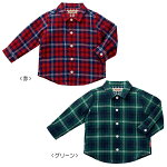 先染二重織格子☆チェック長袖シャツ(80cm-130cm)