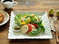 白い食器 プルメリアのスクエアープレート24.5cm ホワイトレベル2【美濃焼・食器%OFF・訳あ...