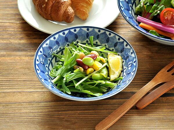 食器小鉢おしゃれ北欧美濃焼サラダボウルフルーツボウルアウトレットカフェ風ブルーアラビアン13.7cmボウル