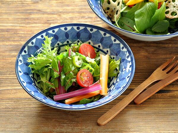 食器サラダボウル煮物鉢おしゃれ北欧美濃焼中鉢スープボウルアウトレットカフェ風ブルーアラビアン16.9cmボウル