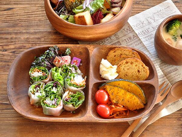 食器 ランチプレート おしゃれ 仕切り皿 木製 アウトレット カフェ風 フィリピン製 アカシアレクタングルトレイL仕切り付き