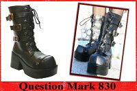 三連ベルトゴシック調厚底ブーツQuestionMark830クエスチョンマークコスプレイヤーズ【あす楽対応】