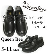 QueenBeeクイーンビー3ホールシューズマニッシュシューズ厚底カジュアルシューズおでこトゥレディース婦人靴大きいサイズゴスロリコスプレロリータ【あす楽対応】