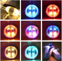 電池交換可能LED内蔵の光る靴ひもPlatube光るLED靴ひも夜光灯ランニング用小物夜道の散歩・ジョ...