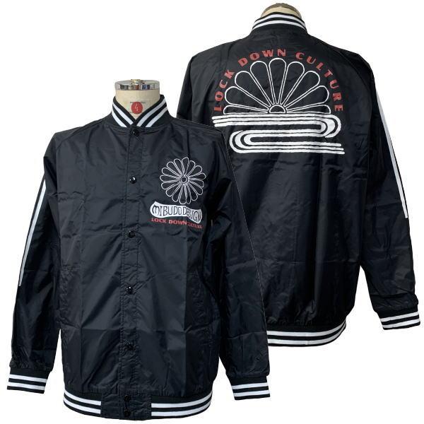 【即配 ブラック XLサイズ】和柄 ナイロンスタンドジャケット「菊紋」和柄 レインコート スタジャン ナイロン 送料無料