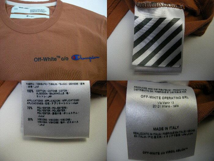 【OFF-WHITE/オフホワイトOFFWHITE/ CHAMPION/チャンピオン/Tシャツ/TEE】【メンズ/男性】【ライトブラウン】【サイズXS/S/M/L/XL】【イタリア製/VIRGIL ABLOH/ヴァージルアブロー/バージルアブロー/OFF WHITE】