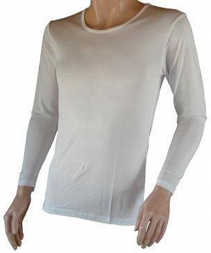 【送料無料】シルク (絹) 100% シルクニット紳士(メンズ)長袖インナーシャツ ホワイト  【ネコポス対応】