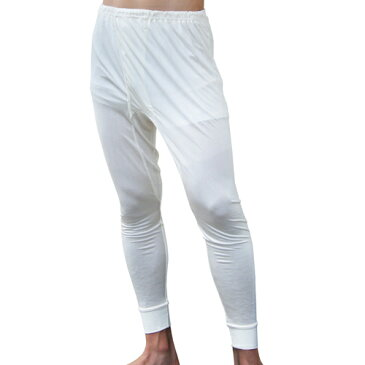 《2枚組》シルク100% シルクニット紳士(メンズ)長ズボン下  ホワイト【レギンス】【絹100%】【ステテコ】【保温】【ネコポス対応可】