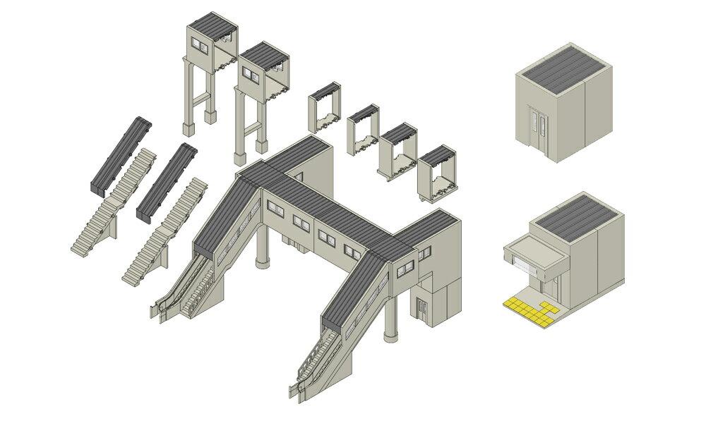 ※新製品 9月発売※マルチ跨線橋エレベーター付セット【TOMIX・4073T】「鉄道模型 Nゲージ トミックス」