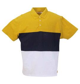 鹿の子3段切替半袖ポロシャツ