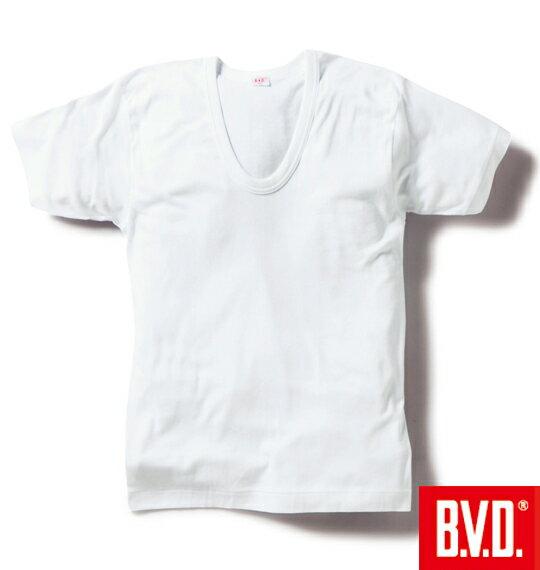 大きいサイズメンズU首半袖TシャツB.V.D.(ホワイト)(3L4L5L6L)