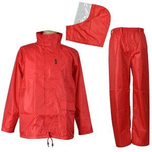 レインウェア 雨衣 [コヤナギ] 《雨の侵入を防ぐ/二重袖・パンツ裾ボタン》 【防水:耐水圧10000mm】 レインコート かっぱ 合羽 FUNPLUSLIGHT ファンプラスライト FP-11 レッド 上下組 [梅