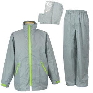 【お買得 かっぱ】 [コヤナギ] 防水 レインウェア レインコート 合羽 雨衣 《二重袖&袖口調節》 EasyRain EZ-55 シルバー [梅雨 ゴルフ 自転車 おすすめ 上下組]