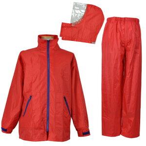 【お買得 かっぱ】 [コヤナギ] 防水 レインウェア レインコート 合羽 雨衣 《二重袖&袖口調節》 EasyRain EZ-55 レッド [梅雨 ゴルフ 自転車 おすすめ 上下組]