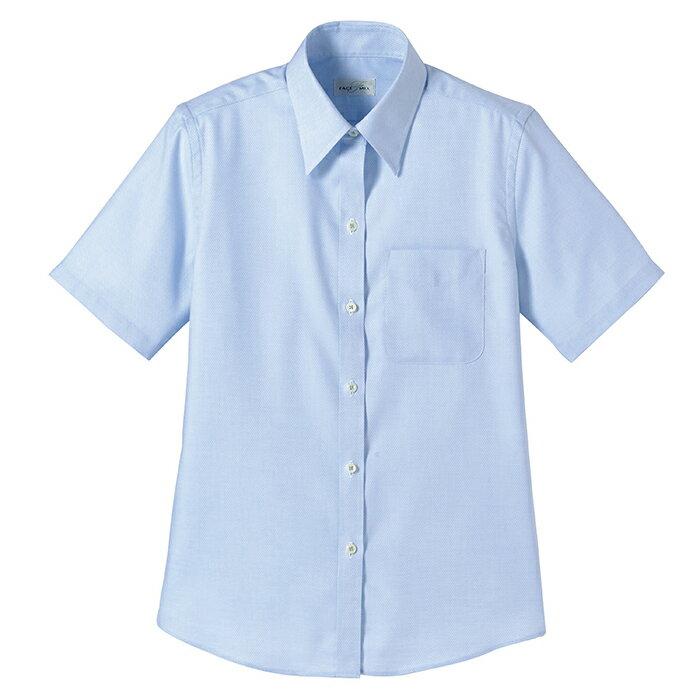 レディース 半袖ブラウス 【涼しく快適な着心地】 [ストレッチ素材] [ボンマックス] BONMAX FB4014L-7 ブルー 5号~17号 仕事着