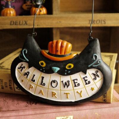 黒猫ミニプレート【ハロウィン】イヒヒっ♪な笑い顔でこっちもニコっ♪「黒猫ちゃん★イヒッ!H...