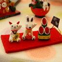 縁起ものダルマちゃんを持つ来年のスター兎ちゃんは招き猫ちゃんと仲良し♪「招きうさぎ&猫ち...