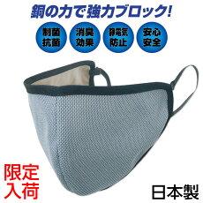 銅マスクウイルス対策制菌抗菌繰り返し使用カプロンファイバー銅繊維布マスク裏面は綿素材日本製