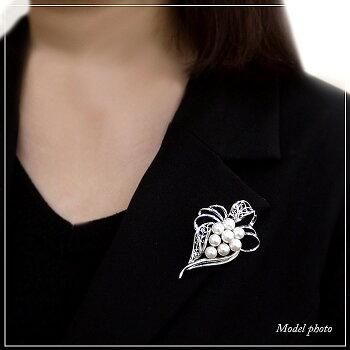 パールブローチ(6554)アコヤ真珠6.5〜7.0mmコサージュエレガントシルバー入学式卒業式フォーマル式典セレモニー結婚式ブライダルパーティー母の日送料無料あす楽