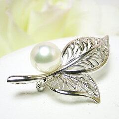 【送料無料】上品なリーフモチーフのアコヤ真珠ブローチ(6310)【パールブローチ】【楽ギフ_包装】【母の日】