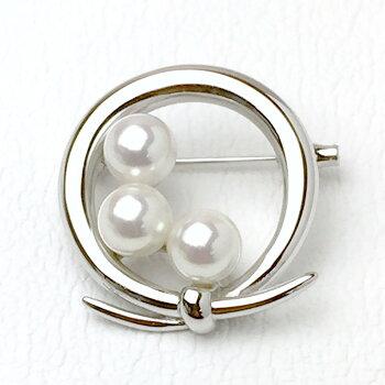 パールブローチ(6481)アコヤ真珠6.0mm小ぶり小さめ丸リボンシルバー入学式卒業式結婚式パーティー母の日送料無料あす楽