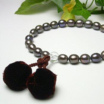 【専用ケース付】淡水真珠の数珠(9201)【楽ギフ_包装】【たんすい真珠パール念珠仏事メンズ】