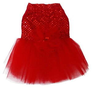 ★I See Spot/アイシースポット★Red Sequin Tulle Dress犬用ワンピース
