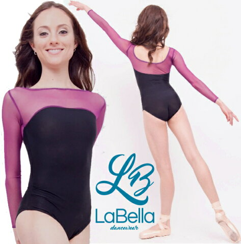 【LaBella dancewear】Katie 大人 レオタード バレエ ラベラ バレエ用品 日本初上陸!アメリカのブランドレオタード 長袖 大人レオタード レッスン 着 バイカラー