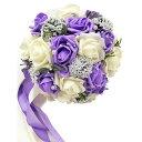 【送料無料】ウェディング ブーケ 結婚式 ブライダル フラワー パール付き 選べる カラー 6種類 (04 パープル&ホワイト)