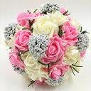 【送料無料】ウェディング ブーケ 結婚式 ブライダル フラワー パール付き 選べる カラー 6種類 (01 ピンク&ホワイト)