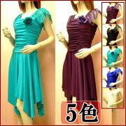 袖ありドレープシンプルで上品なワンピースドレス