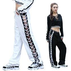 ダンスパンツダンス衣装ヒップホップB系スウェットパンツレースアップ編み上げスリットセクシーステージ衣装ダンスウェアレッスン着黒白ラインサイド編上げcr23n-r
