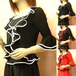 フラメンコ衣装トップスプルオーバー型2枚重ね風ブラウス