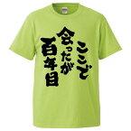 おもしろTシャツ ここで会ったが百年目 ギフト プレゼント 面白 メンズ 半袖 無地 漢字 雑貨 名言 パロディ 文字