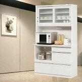 食器棚完成品光沢のある木目模様が美しいキッチンボード幅120cmモイス仕様ホワイト/ブラックレンジボードSOKキズ、熱に強いメラミンポストフォーム天板開梱設置送料無料m015-kiz-120r-wh[G2]