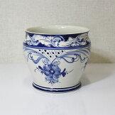 イタリア製鉢カバー陶器花瓶つぼ置物青染