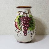 イタリア製陶器花瓶つぼ置物【即納】グレープ柄