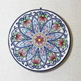 イタリア製壁掛け用絵皿陶器置物【即納】シカ染付青